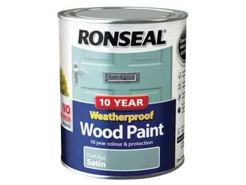 10 Year Weatherproof Wood Paint Duck Egg Blue Satin 750ml